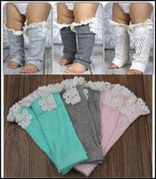 Wholesale 2015 toddler kids leg warmers infant baby hollow out lace Warm feet buttons Cotton short legs boot cuffs kids leggings J090103