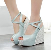 Wholesale Roman Style Blue Ankle Strap High Platform Wedge Sandals Peep Toe Shoes Bride Wedding Shoes Size to