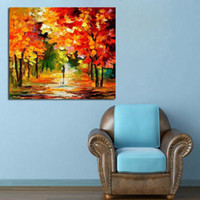 best scenery - Best Wall Art Handpainted Knife Oil Painting Beautiful Autumn Scenery Abstract Art on Canvas Modern Pictures Home Decoration