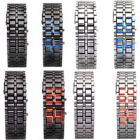 led lava watch - Men Lava Iron Samurai Metal LED Faceless Bracelet Watch Wristwatch Stainless Steel Novelty Item for Gift