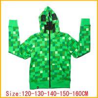 coats - 2015 New Minecraft Baby Boys Coat Fashion Hoodies Sweater T shirt Kids Autumn Green Long Sleeved Coat Children Outdoor Hoodies Coat DG GD11
