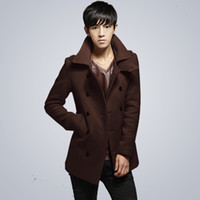 Wholesale Fall men s woolen blend peacoat warm winter wool peacoat men double breasted wool pea coat men brand fashion woolen coat men