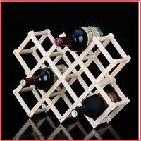 wine holder - Wooden varnish color bottles of wine Wooden wine rack Solid wood creative folding wine rack