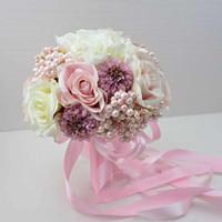 wedding rose petals cheap - Vintage Luxury Bridal Bouquet Pearl Silk Cloth Flower Wedding Favors Party Supplies Bridal Petals High Quality Cheap ZYY