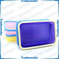 Wholesale Eco friendly Foldable Folding Collapsible Silicone Lunch Box Retractable Picnic Box with Fork