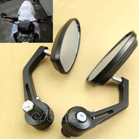 Wholesale quot Aluminum Rear View Side Mirror Black Handle Bar End Oval For Motorcycle New order lt no track