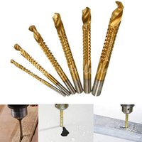 Wholesale 6pcs Titanium Coated High Speed Steel Drill Bit Electric Drill Hemp Flowers High Hardness Resistance of High Speed