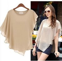 Cheap Summer Europe Style Design Chiffon Woman Blouses Bat Sleeves Round Neck Chiffon T Shirt Tops Sexy Elegant S-XXL 5 colors women clothes