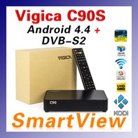 Cheap [Genuine] VIGICA C90S DVB-S2 Digital Satellite Receiver Support CCcam Newcamd Biss & Amlogic S805 Quad Core 1GB 8GB Android 4.4 TV Box A0093
