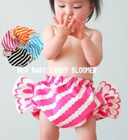 baby embroidery designs - Hot new INS design Lovely baby candy bloomer Summer Infant toddler s clothing Girls Stripes cherry pineapple short Pink black white