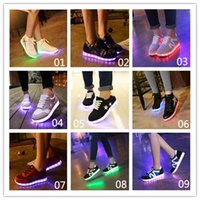 flat shoes women - Multi choice Seven colors LED Lighted Shoes woman sneakers USB charging flat Lace Up Casual shoes