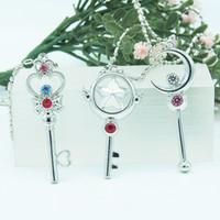 bar diamond necklace - New style hot sale Sailor Moon Cardcaptor Sakura Key Pendant Necklace fashion CZ diamond neckalce Magical Young girl bar