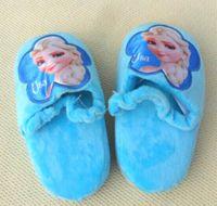 Wholesale Frozen Anna Elsa Snow Princess Short Fur Cotton Slippers Children Girls Winter New Kids Baby Bring Heelpiece Home Shoes pairs L0833