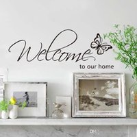 best window designs - Best sales English welcome home butterfly wall stickers shop window stickers decorative glass door stickers decorations props removable