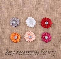 acrylic fabric - 1 Novelty Fabric Satin Flowers With Shine Acrylic Button Artificial Headband Ribbon Flower Christmas Hair Ornamet Flower Accessories