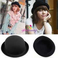 Wholesale Fashion Women Bowler Derby Hats Vogue Vintage Wool Plain Outdoor Travel Sun Caps New