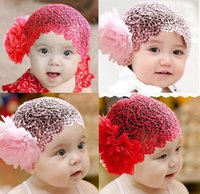 Wholesale Red Pink Crochet Flower Baby Hat Knitted Beanies Girls Hat Newborn Party Dress Cap Cloth gift HB W0001