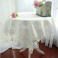 Wholesale Classical cm Elegant Polyester Lace Tablecloth Wedding Party Europe Style Delicate Table Topper Cloth Covers Home Textile