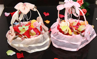 bamboo basket - Floral Flower Girl Baskets Organza Handmade Flowers Bamboo Photography Props Cheap Flower Basket Wedding Supplies Freeshipping