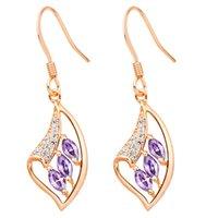 Wholesale Joint Torique Gasket Head Fashion Wedding Silver Earrings Big Crystal Earring Jewelry Rose Gold Plated Women Purple Zircon R181
