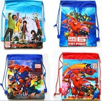 Wholesale big hero backpack kids drawstring backpack bags shopping non woven drawstring bag children kids school bags boys and girls backpacks