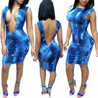 Cheap Sexy women pros and cons to wear dress denim deep V O-neck sheath sleeveless off the shoulder bandage night club dress 4398