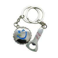 beer face - 1 Pair Lover s Key Rings Smile Face Beer Cap Bottle Opener Keyfob Keychains