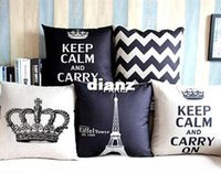 Wholesale Fashion Hot Home Decorative Cotton Linen Blended Crown Throw Pillow Case