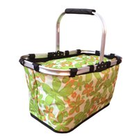 Wholesale Foldable Insulated Cooler Picnic Basket with Single Handle Large Size Light Green Background