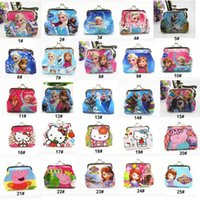 Wholesale Girls D Cartoon Frozen Peppa Sofia Princess Coin Purse With Iron Button Shell Bag Wallets Purses children Gifts For Holidays HW
