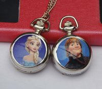 Wholesale Frozen Cartoon Pendant Pocket Watches Baby Girls Fashion Quartz Watch Necklace Chain Clock STYLE Best Friend Gifts OF
