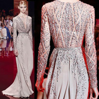 Cheap 2016 Elie Saab Shinning Evening Dresses Sheer Long Sleeves Major Beading Overlay Deep V Neckline Embroidery Illusion Prom Pageant Gowns