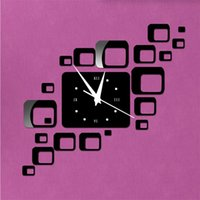 american made watches - Direct selling led acrylic wall clock squares Quartz mirror Modern home decoration diy stickers hand make decoration watch