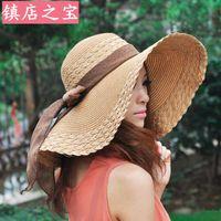 Cheap 2015 Fashion Summer Women's Ladies' Foldable Wide Large Brim Floppy Beach Hat Sun Straw Hat Cap Women