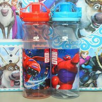 Wholesale 2015 Big hero plastic water bottle Baymax Hiro cup Children s cartoon cups cold water bottles cups kettles ml A15031104