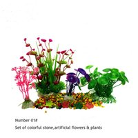 Wholesale Artificial flowers for fish tank home decoration green grass sets in fish Jar holiday gift for fish bowl plastic plants