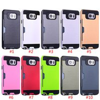 Wholesale iPhone s Plus TPU PC Brush Card Pocket Back Case Samsung Galaxy Note S6 S6 Edge S6 Edge Plus