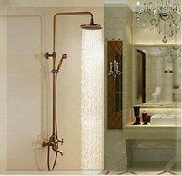 Wholesale Antique Brass Copper Rainfall Shower Head Exposed Designer Bathroom Shower Sets Faucet fg antique colored sink