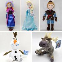 Wholesale 20sets set Frozen cm Princess Elsa Anna Olaf the snowman Sven Kristoff plush toys stuffed dolls Cheap Christmas