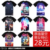 raglan shirt - Limited yuan skateboard Star T shirt tie dye trend galactic cosmic short sleeve raglan tee horns male and female couple