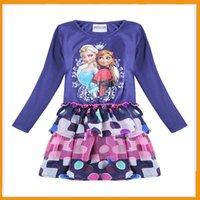 Cheap Cotton Eco-friendly Purple Baby Girl Dresses Forzen Elsa Costumes Dresses Colorful Designs Layers Party Dress
