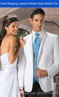 Wholesale 2015 Men Fashion Custom Made White Groom Tuxedos Wedding Suits Jacket Vest Pants Tie Peak Lapel Four Button men modern fit suit c033