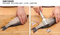 Wholesale 20 CM FDA Stainless Steel Grip Handle Fish Scale Scraper Kitchen tools scraping scales Knife