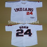 adult baseball jersey - 2015 New Cleveland Indians Roger Dorn white adult baseball jerseys mix order