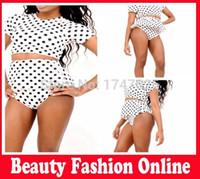 Cheap polka dot bikini set Best high waist women swimwear skirt