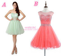 coral for sale - 2015 Rhinestone Short Tulle Homecoming Dresses For Sweet Sixteen Teens Graduation Girls Sale Cheap Sage Coral Backless Prom Gowns Under
