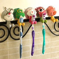 Wholesale 1 Piece Cartoon Silicone Stand Mount With Suction Wall Hanger Toothbrush Holder Bathroom Random Colors