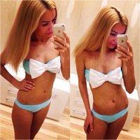 Wholesale 2015 summer style Women Sexy Bow Bikini Set Push Up Bra Swimsuit Beachwear Swimwear biquini