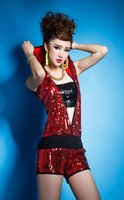 hip hop clothing - Sequins Decor Stage Wear Jumpsuit Stretchy Short Pants Sleeveless Hooded Top Coveralls Playsuit DS Jazz Hip hop Pole Dance Clothing Rompers