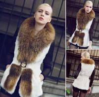 Wholesale Rabbit fur fur vest the new winter raccoon fur collars in ms long fur vest
